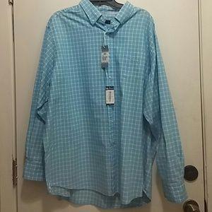 Baby blue check long sleeve shirt XXL